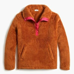 J. Crew Sherpa Pullover With Pockets Warm Chickory